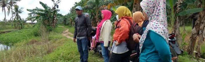 LUNCURKAN DEMPLOT: Koordinator Perempuan Kubu Raya Era Prestoroika (berkerudung pink), didampingi Direktur Gemawan Laili Khairnur, bersama-sama kaum ibu-ibu dan remaja putri tani di sela-sela peluncuran Demplot Sayur di Sungai Kakap, Senin (30/05/2016). Foto: Ahmad Zaini/GEMAWAN.